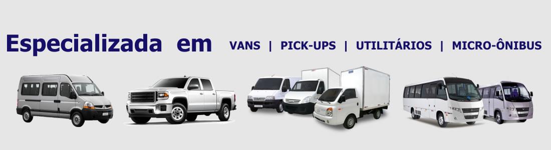 Especializadas em Vans, Pick-ups, Utilitários e Micro-ônibus